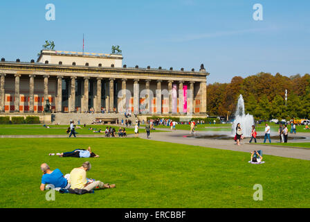 Lustgarten park, in front of Altes Museum, Museumsinsel, museum island, Mitte district, central Berlin, Germany - Stock Photo