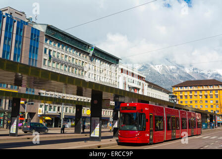 Südtiroler Platz, in front of main railway station, Innsbruck, Inn Valley, Tyrol, Austria - Stock Photo