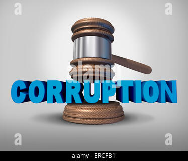 Corruption concept as a justice judge gavel or mallet coming down on the words that represent the criminal act of - Stock Photo
