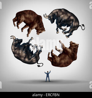 Investing in stocks concept as a financial advisor or stock broker businessman juggling a group of bears and bulls - Stock Photo