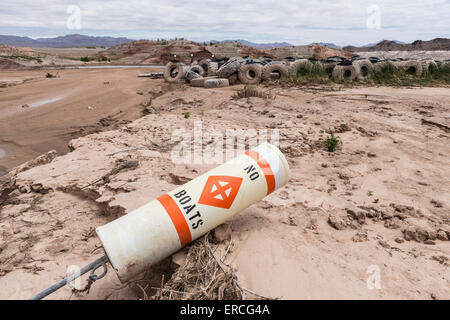 Historic low lake levels at Lake Mead in the drought ravaged state of Nevada. - Stock Photo