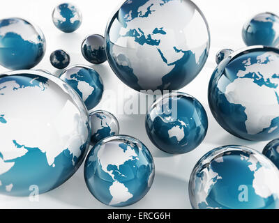 Blue Globes on white background - Stock Photo
