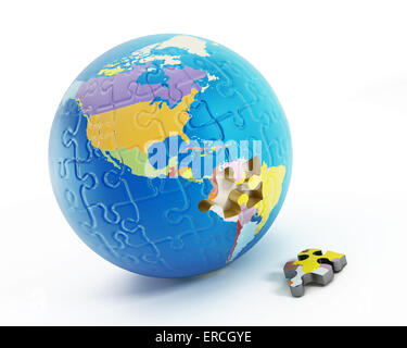 Puzzle parts forming Earth with one missing piece. - Stock Photo