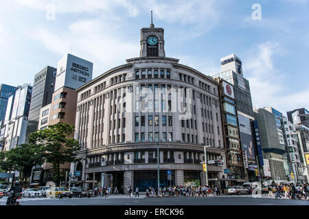 Ginza Wako building,Chuo-Ku,Tokyo,Japan - Stock Photo
