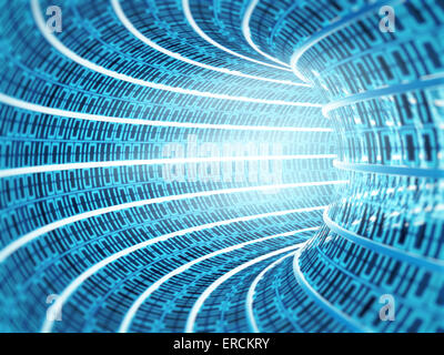 Binary code tunnel forming with 1 and 0's - Stock Photo