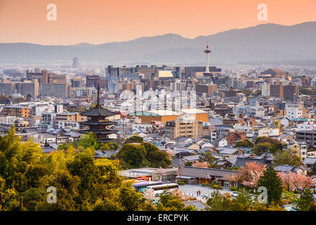Kyoto, Japan city skyline at dusk. - Stock Photo