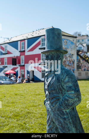 Statue of Isambard Kingdom Brunel,saltash riverside - Stock Photo