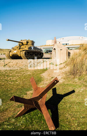 US tank standing to celebrate the Operation Overlord in Normandy, France - Stock Photo