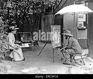 HENRI de TOULOUSE-LAUTREC (1864-1901)  French painter with actress Berthe Bady about 1895 - Stock Photo