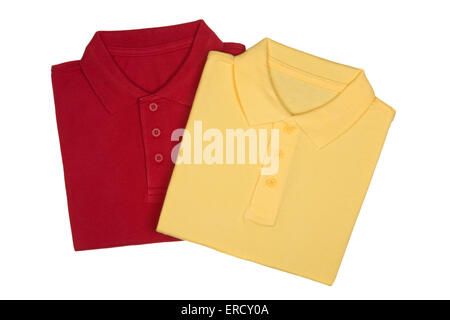 Two folded red and yellow polo shirts isolated on white background from above - Stock Photo