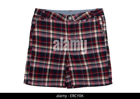 Checkered shorts isolated on a white background - Stock Photo