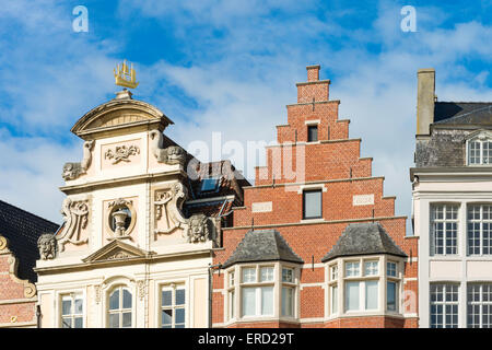 Gabled buildings in Graslei, the quay on the east bank of the River Lys, in the historic centre of Ghent, Belgium. - Stock Photo