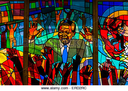 Nelson Mandela stained glass window at Regina Mundi Church, Soweto, Johannesburg, South Africa. - Stock Photo