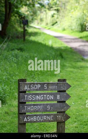 Tissington Trail Sign at Hartington Station in the Peak District National Park - Stock Photo