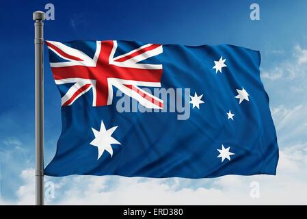 Australian flag on blue sky - Stock Photo