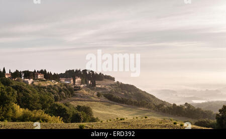 Castiglion del Bosco, Val d'Orcia, Tuscany, Italy. A medieval village converted into a luxury hotel and apartments. - Stock Photo