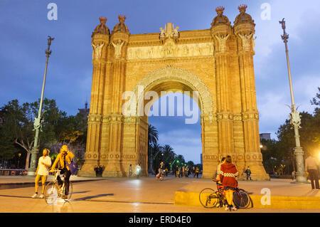 Arc de Triomf (Triumphal arch), Barcelona, Catalonia, Spain - Stock Photo
