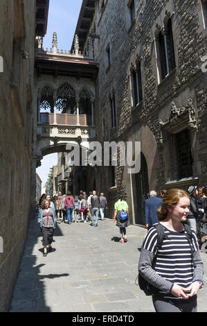 Carrer del Bisbe, Barri Gotic, Barcelona, Catalonia, Spain - Stock Photo