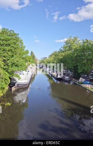 Canal Boats at Little Venice London United Kingdom - Stock Photo