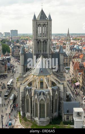View of Saint Nicholas' Church ('Sint Niklaaskerk') seen from the Belfort tower, Ghent Belgium. - Stock Photo
