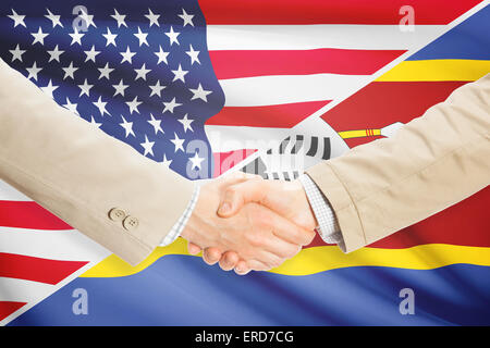 Businessmen shaking hands - United States and Swaziland - Stock Photo