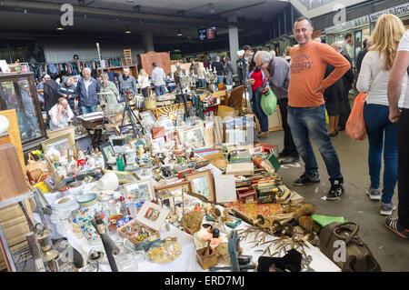 Els Encants, one of Europe's oldest open-air flea markets, Barcelona, Spain - Stock Photo