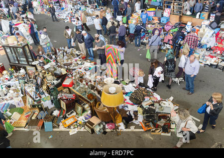Crowd at Els Encants, one of Europe's oldest open-air flea markets, Barcelona, Spain - Stock Photo