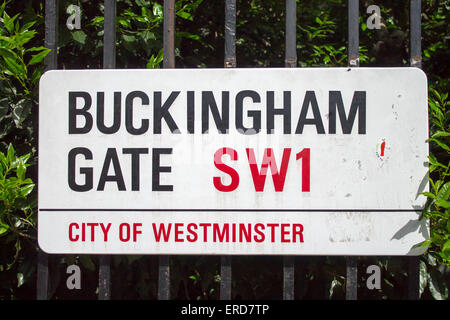 Buckingham Gate Street Sign in City of Westminster, London, - Stock Photo