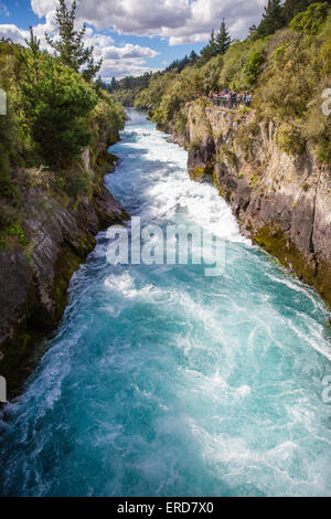 Huka Falls on the Wikato River drain vast volumes of water from Lake Taupo in central North Island New Zealand - Stock Photo