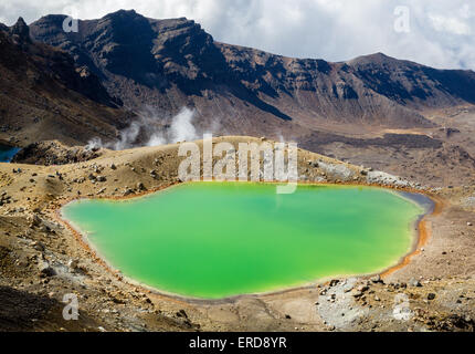 Emerald Lake on the Tongariro Alpine Crossing across the volcanic National Park - North Island New Zealand - Stock Photo