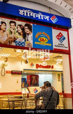 Mumbai India Asian Lower Parel High Street Phoenix mall Domino's Pizza inside restaurant Hindi English - Stock Photo