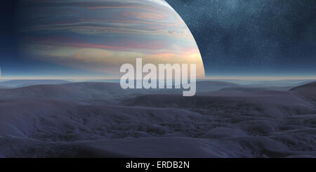 Computer illustration of an alien world with large planet on the horizon. - Stock Photo