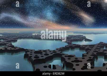 Computer illustration of an alien planet with water and stars. - Stock Photo