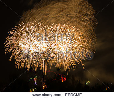Firework display against black sky in the Exhibition Place. Exhibition Place is a mixed-use district in Toronto, - Stock Photo