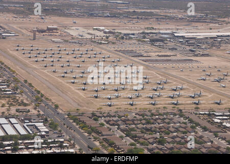 Davis-Monthan Air Force Base boneyard in Arizona. - Stock Photo