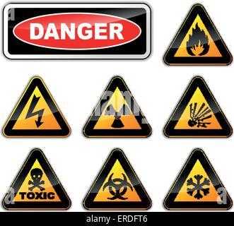 Vector illustration of danger signs on white background - Stock Photo
