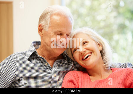 Senior man and daughter at home - Stock Photo