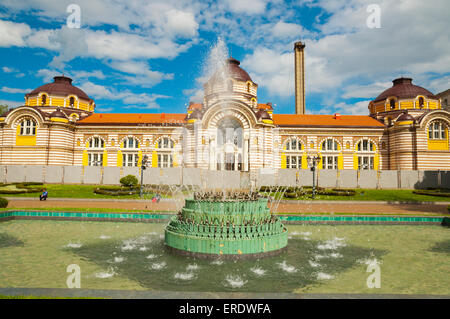 Fountain, in front of Mineral Baths, central Sofia, Bulgaria, Europe - Stock Photo