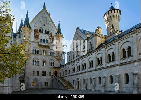 Palas and Knights' House, upper courtyard of Neuschwanstein Castle, Schwangau, Ostallgäu, Allgäu, Swabia, Bavaria, - Stock Photo