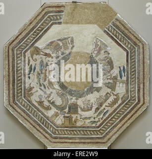 Roman mosaic. Port scenes. 3rd -4th century. From Vega Baja de Toledo. Museum of Hospital de la Santa Cruz. Toledo. - Stock Photo