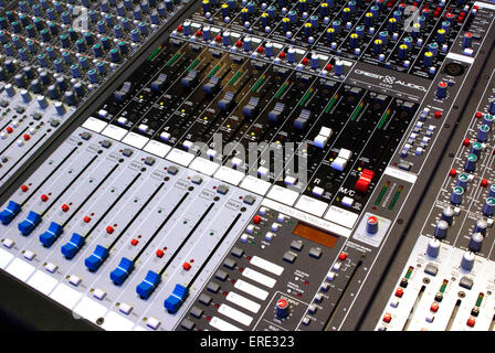 Close-up of faders on mixing desk - Stock Photo