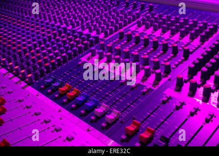 Close-up of faders and knobs on mixing desk - Stock Photo