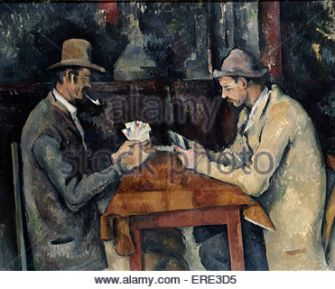 The Card Players by Paul Cezanne, 1893-6. PC, French artist: 19 January 1839 – 22 October 1906. Courtesy The Courtauld - Stock Photo