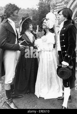 A wedding scene being filmed at St Winnows church near Lostwithiel, Cornwall in 1977. From the left, Robin Ellis - Stock Photo