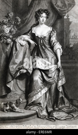 Her Royal Highness the Princess Ann of Denmark (Princess Anne, later Queen Anne), portrait.  Mezzotint by John Smith - Stock Photo