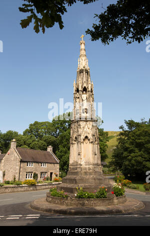 UK, England, Staffordshire, Ilam, Mary Watts-Russell Memorial Cross erected in 1840, detail - Stock Photo