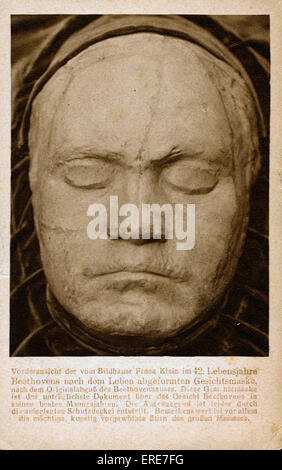 Ludwig van Beethoven life mask by Franz Klein, taken 1812. Postcard. LVB: German composer and pianist, 16 December - Stock Photo