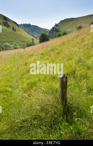 UK, England, Staffordshire, Dovedale, Milldale, footpath marker post in middle of sloping meadow - Stock Photo
