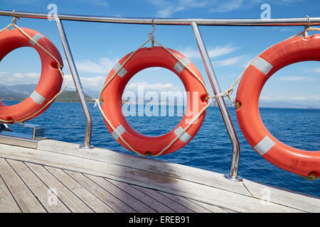 A lifebuoy safety ring on board a boat sailing out of Fethiye, Turkey. - Stock Photo