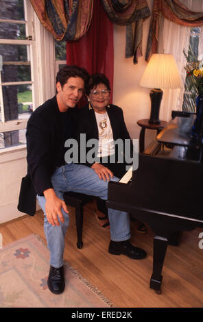 Michael Damian, portrait with his mother, Los Angeles, USA. American actor, singer and producer, b April 26, 1962 - Stock Photo